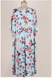 52 PSS-B (My Favorite Option) Blue Dress with Peach Flowers 3X4X5X Extended Plus Size
