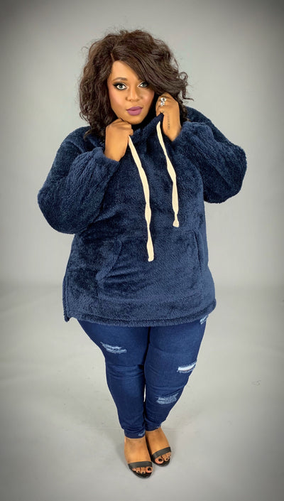 HD-T {The Cozy Touch} NAVY Faux Fur Hoodie SALE!