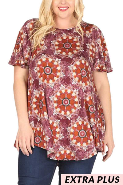 PSS-J{Spiral Out Of Control}Wine/Cider Starburst Design Top   EXTENDED PLUS SIZE 3X 4X 5X