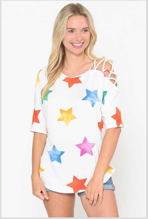 52 OS-C (Stars In Her Eyes)Ivory Star Printed Lattice Sleeve Tunic 1X2X3X Plus Size