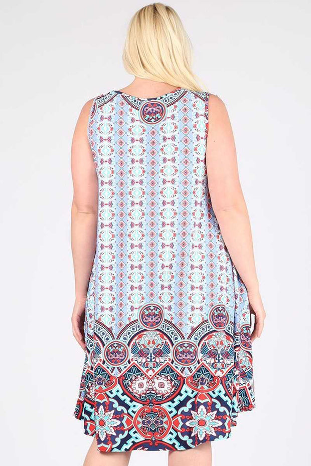 SV-A{Living In Luxury} Powder Blue Patterned Sleeveless Dress EXTENDED PLUS SIZE 3X 4X 5X