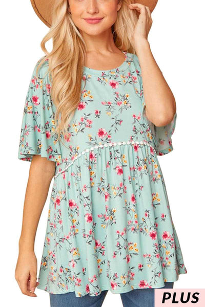 65 PSS-E {Minty Beauty} Mint Floral Printed Tunic PLUS SIZE 1X 2X 3X