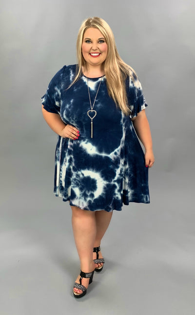 PSS-A {Sapphire Desire} Navy & Ivory Tie Dye Dress EXTENDED PLUS SIZE 3X 4X 5X