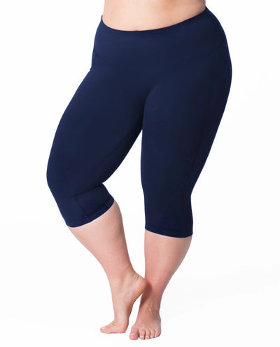 Leg-13 {Hey, Sailor} Navy Capri Leggings EXTENDED PLUS SIZE 3X/5X