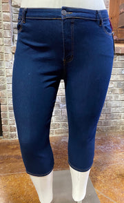 BT-N {Indigo Blues} Dk Indigo Denim Capri EXTENDED PLUS SIZE 24 26 28