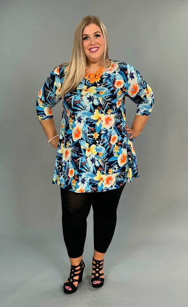 PQ-E {Tropical Oasis} Floral Print Tunic or Dress with Side Pockets
