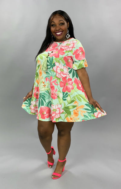 PSS-B {Seeking Paradise} Mint Green Tropical Floral Dress EXTENDED PLUS SIZE 3X 4X 5X