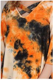 PQ-D {Artistic Flare} Orange & Blue Tie Dye Cross Neck Tunic BUTTER SOFT EXTENDED PLUS SIZE 4X 5X 6X