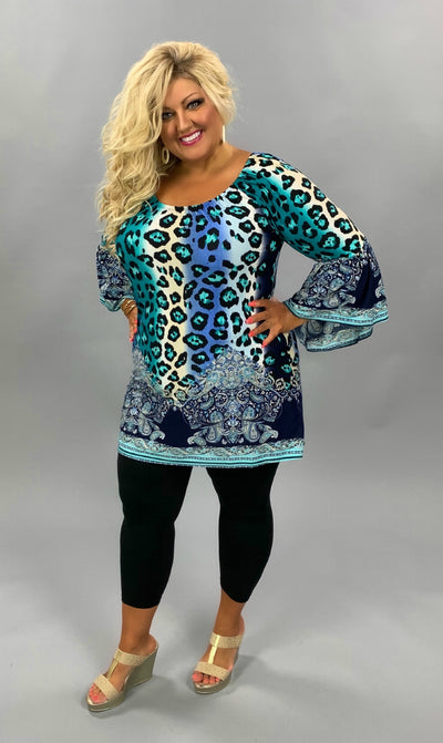 PQ-C (Leave Her Wild) Leopard and Paisley Printed Tunic EXTENDED PLUS SIZE 1X 2X 3X 4X 5X 6X