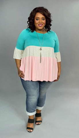 CP-E {Make A Move} Mint/Gray Tunic with Pink Contrast