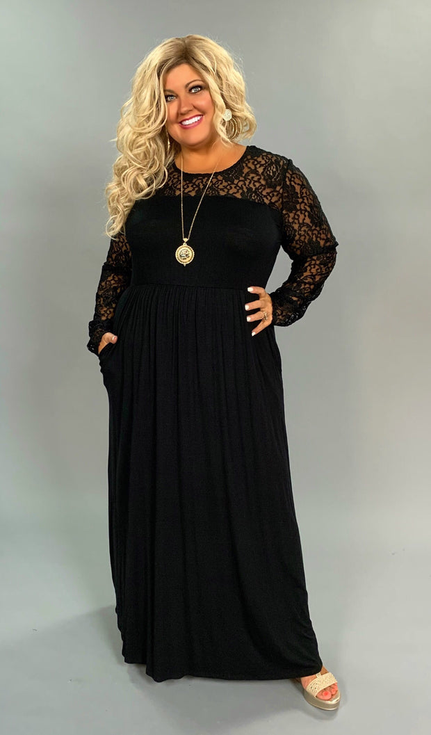 LD-B {After Hours} Solid Black Maxi Dress with Lace Detail