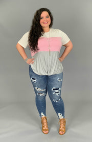 CP-B {Come With Me} Pink Striped Gray Contrast Top PLUS SIZE 1X 2X 3X