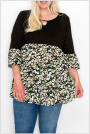 65 CP-I {Eternal Optimist} Black Floral Contrast Tunic EXTENDED PLUS SIZE 4X 5X 6X