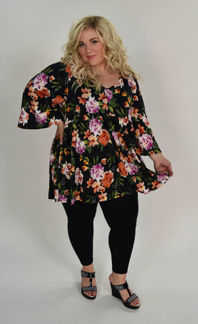 PQ-Q {Picnic In The Park} Black Floral Print Babydoll Tunic Extended Plus