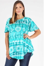 PSS-K {Carefree} Teal Tie-Dye Printed Top Extended Plus