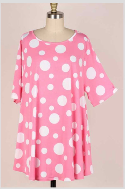 65 PPS-G {Summer Sway} Pink Polka Dot Tunic EXTENDED PLUS SIZE 3X 4X 5X