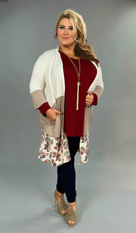 OT-M {I Want It All} Ivory/Tan Cardigan with Floral Border