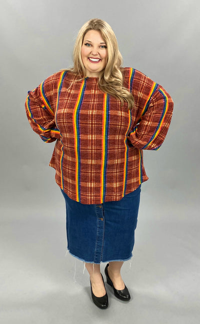 11-03 PLS-O {Odds And Ends} Rust Rainbow Plaid Top EXTENDED PLUS SIZE 3X 4X 5X