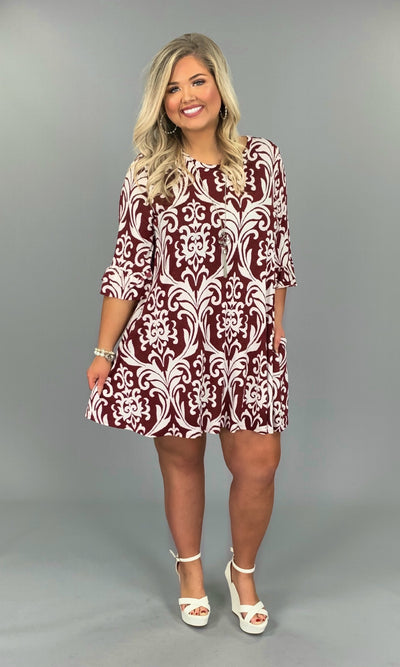 PQ-V {Better Days} Burgundy Damask Print Dress with Ruffle Sleeves SALE!!