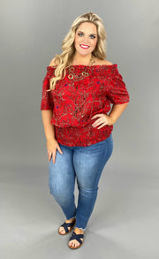 OS-D {Red Hot Summer} Red Printed Ruched Hem Top PLUS SIZE 1X 2X 3X