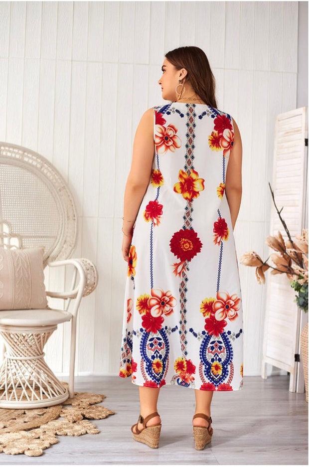 LD-Q {Jazzy Spirit} White Floral Sleeveless Maxi Dress Extended Plus