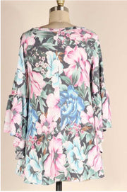 48 PLS-B {Easy Going} Grey Pink Blue Floral Bell Sleeve Tunic PLUS SIZE XL 2X 3X