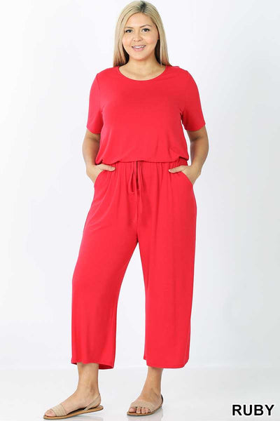 RP-G {Jump Through Hoops} Red Jumpsuit with Tie Neck/Elastic Waist PLUS SIZE 1X 2X 3X