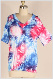 PSS-G {Gemstones} Royal Blue & Fuchsia Tie Dye Tunic PLUS SIZE 1X 2X 3X SALE!!