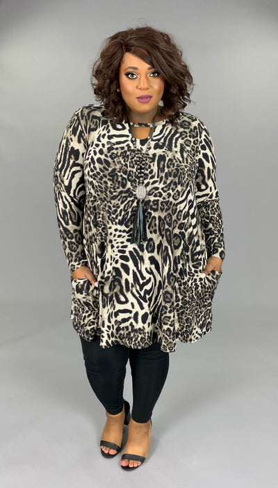 PLS-A (Boldest Babe) Animal Print Dress With Keyhole Detail EXTENDED PLUS