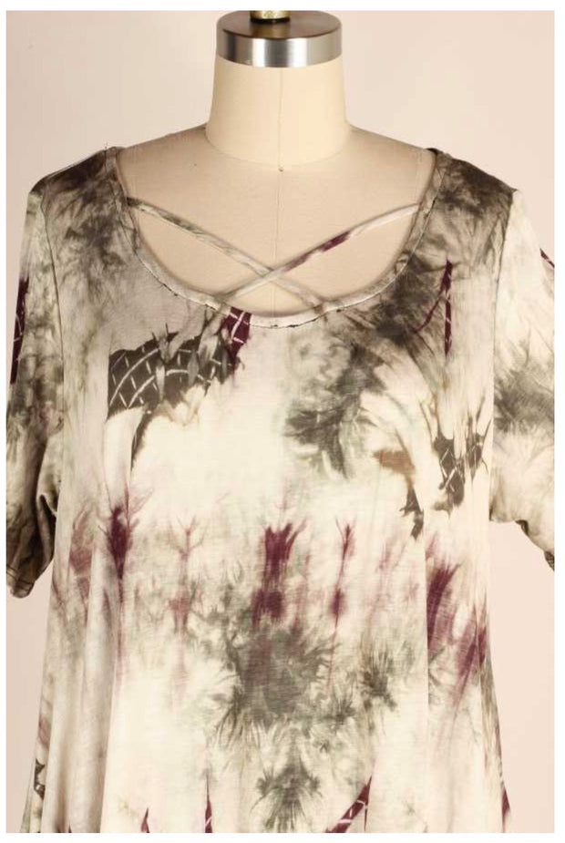 PSS-P {Spanish Moss} Green/Cream Tie Dye Tunic W/Neck Detail PLUS SIZE 1X 2X 3X