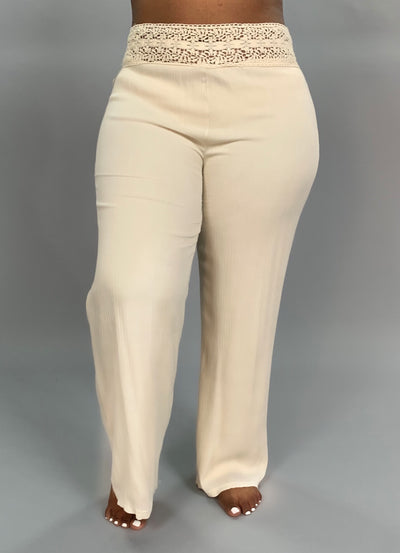 BT-G Cream Colored Pants with Embroidery Waistband SALE!