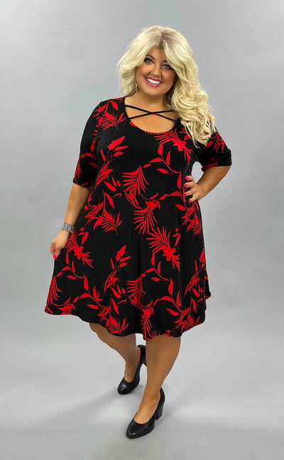 47 PSS-F {Be Leaf Yourself} Black Dress w/Red Leaves EXTENDED SIZES 3X 4X 5X