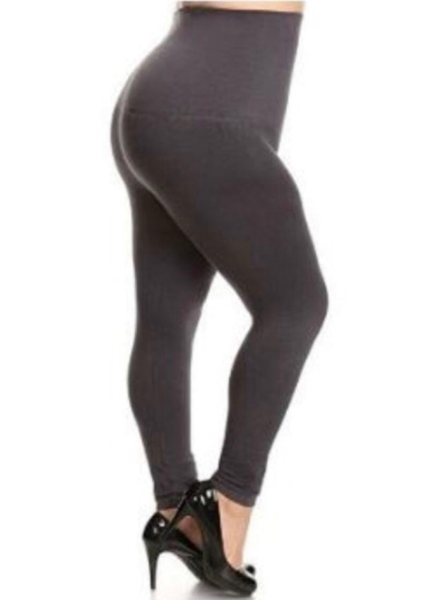 SQ/43- French-Terry GRAY Tummy Control Leggings