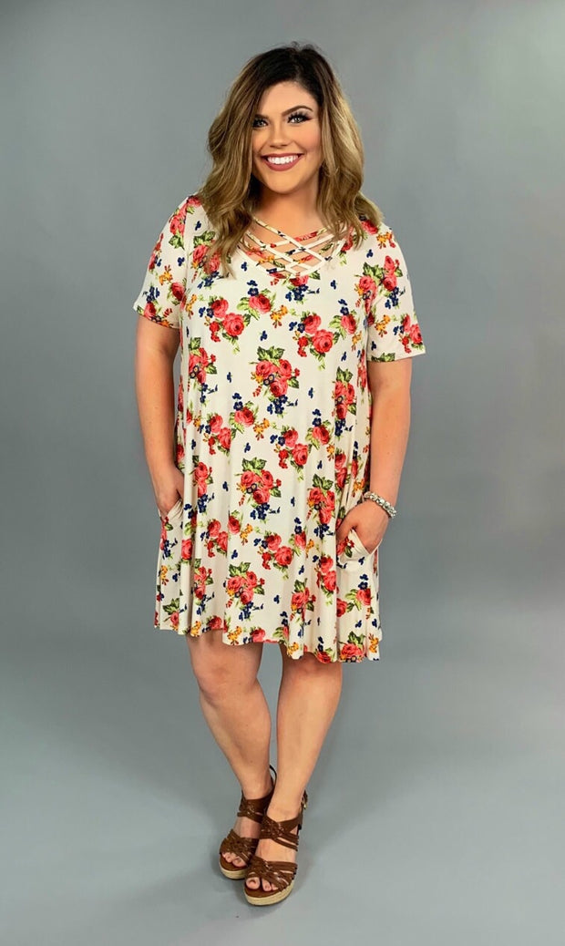 PSS-N {See You Soon} Floral Cage Neck Tunic or Dress with Pockets