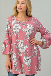 48 PQ-D {Happy With You} Rose Ivory Flower Ruffle Sleeve Tunic PLUS SIZE XL 2X 3X