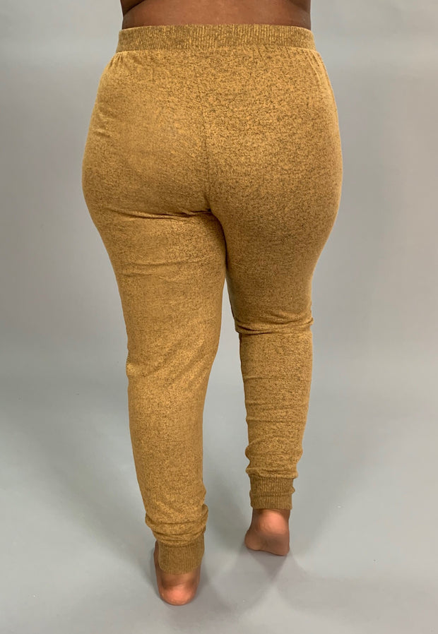 BT-J {The Best Of Fall} CAMEL Soft & Stretchy Active Pants PLUS SIZE