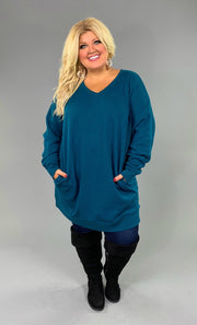 SLS-B {Just Perfect} TEAL V-Neck Long Sweatshirt Pockets