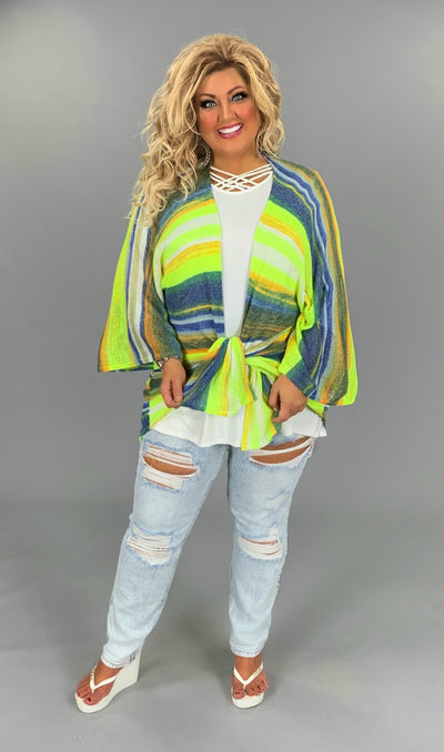 OT-H {Blue Chair with Lime} Blue/Lime/Orange Striped Cardigan PLUS SIZE 1X 2X 3X SALE!!