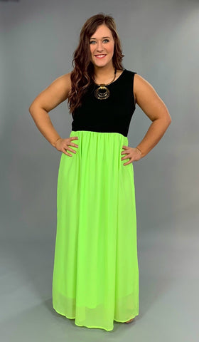 LD-S {Glam It Up} Black/Neon Lime Maxi Dress with Lining