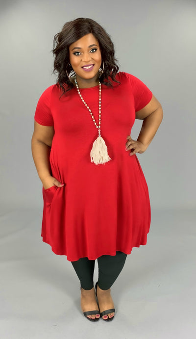 SSS-V{Set For Style} Red Dress W/Pockets EXTENDED PLUS SIZE 3X 4X 5X