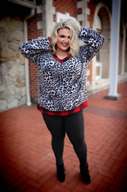 CP-B {Make Your Way} Grey Leopard Red Plaid Contrast Top PLUS SIZE XL 2X 3X