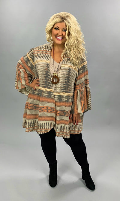 OT-Z {Rebuilding Me} Tan & Orange Aztec Print Cardigan PLUS SIZE XL 2X 3X