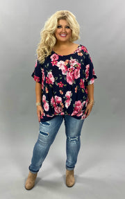 PSS-Z {Forever Your Love} Navy Pink  lower Twist Hem CURVY BRAND EXTENDED PLUS SIZE 3X 4X 5X 6X