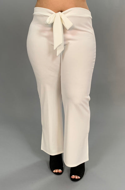 "BT-Q ""Embrace Elegance"" Ivory Pants With Bow Front Detail SALE!"