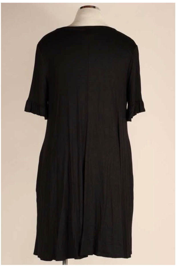 SSS-P {Dark Nights} Solid Black Ruffle Sleeve Dress EXTENDED PLUS SIZE 4X 5X 6X