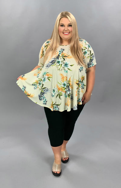 PSS-Z {Handpicked Bouquet} Ivory Tunic Blue/Orange Flower EXTENDED PLUS SIZE 3X 4X 5X SALE!!