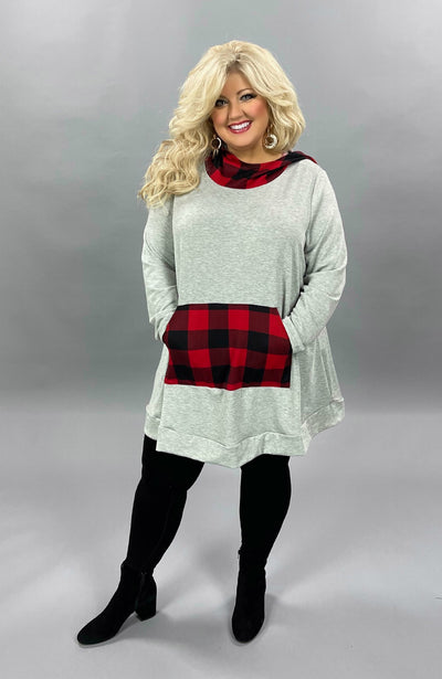 36 HD-A {Go All Out} Grey Red Plaid Hoodie CURVY BRAND EXTENDED PLUS SIZE 3X 4X 5X 6X