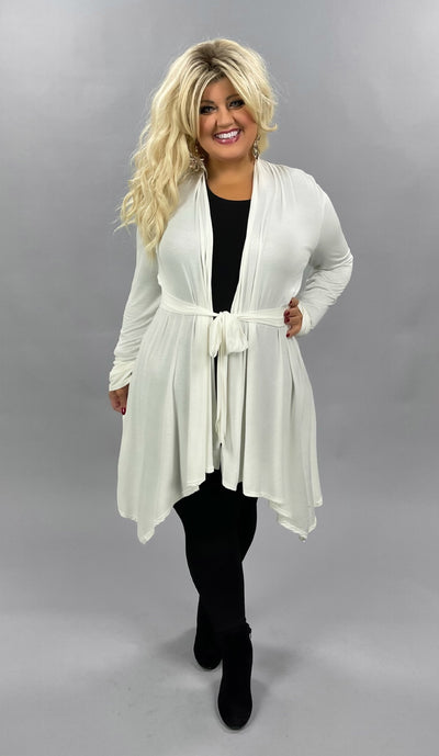 41 OT-E {Pure & Beautiful} White Tie Front Cardigan PLUS SIZE XL 2X 3X