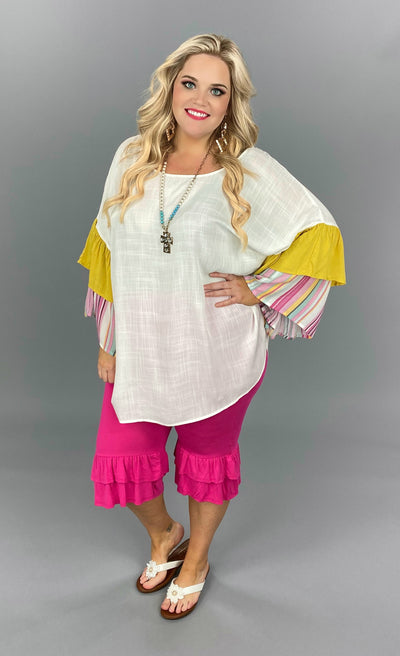 CP-O {Dress Up Days} Ivory Tunic Stripe Mustard Contrast PLUS SIZE 1X 2X 3X SALE!!