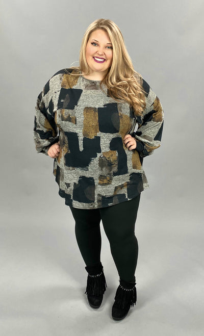 11-03 PLS-J {Bring Me Back} Grey Yellow Printed Top EXTENDED PLUS SIZE 3X 4X 5X